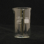 Beaker, Borosilicate, LowForm Capacity 25mL. Graduation 10-15mL. OD 34mm. Height 50mm. Graduation 5mL.