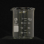 Beaker, Borosilicate, Low Form Capacity 250ml. Graduation range 25-175ml. OD 70mm. Height 95mm. Graduation 25ml. (BOMEX Brand)