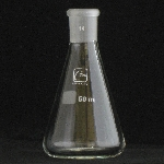 Erlenmeyer Flasks, Ground Joint Capacity 50ml. Outer joint size 14/20.