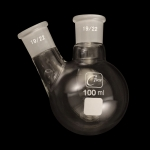 2 Neck Round Bottom Flasks, Angled, Heavy Wall Capacity 100ml. Joints size: Center 19/22; Side 19/22.