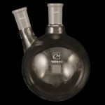 2 Neck Round Bottom Flasks, Angled, Heavy Wall Capacity 1000mL. Joints size: Center 24/40; Side 24/40.