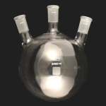 3 Neck Round Bottom Flasks, Angled, Heavy Wall Capacity 2000ml (2L). Center joint size 24/40. Side joints size 24/40.