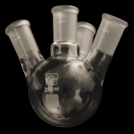 4 Neck Round Bottom Flasks, Angled, Heavy Wall Capacity 250mL. Center Joint size 24/40. Side joints size 24/40.